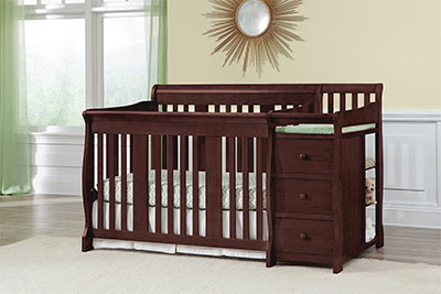 Stork Craft Portofino 4-in-1 Fixed Side Convertible Crib Changer Cherry