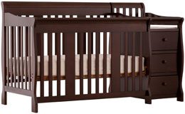 Stork Craft Portofino 4-in-1 Fixed Side Convertible Crib and Changer - Espresso
