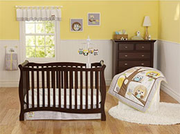3pc Baby Girl Boy Gray Yellow Owl Polka Dot Crib Set